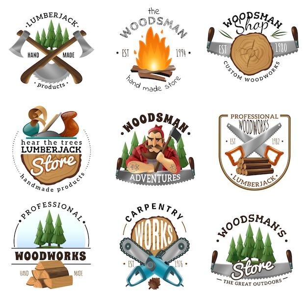 Lumberjack logo emblems labels set Vetor grátis