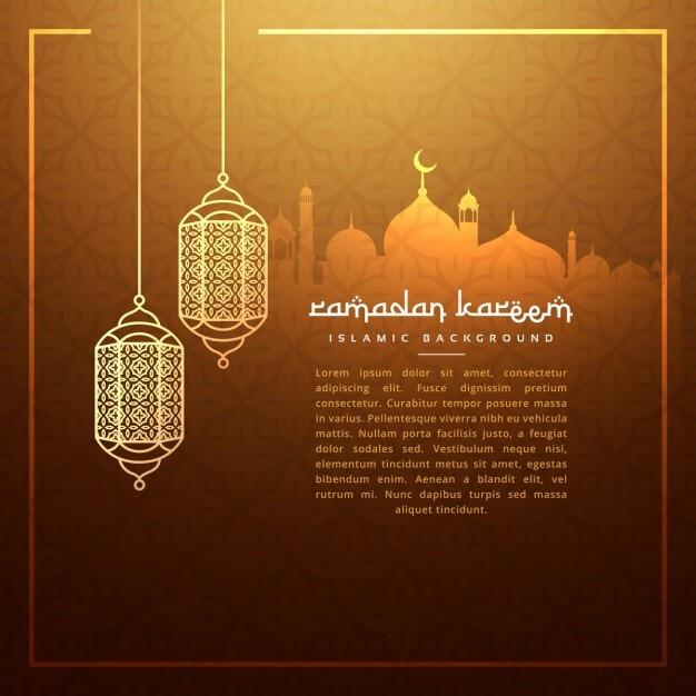 luminárias penduradas festival ramadan com a silhueta Masjid Vetor grátis