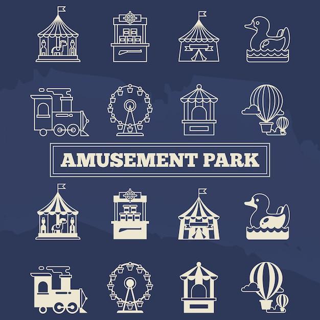 Luna park conjunto de ícones de linha fina e silhoette Vetor Premium