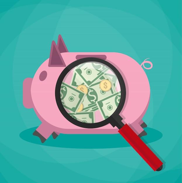 Lupa em um cofrinho rosa e ver dinheiro dinheiro dólares moedas de ouro Vetor Premium