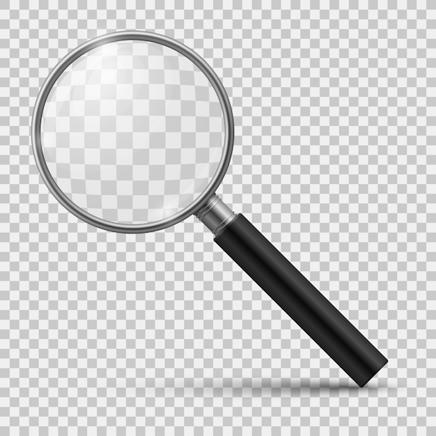 Lupa realista. vidro ampliar, zoom ferramentas lupa microscópio óptico de lente. 3d isolado realista Vetor Premium