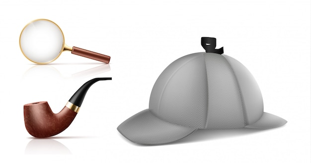 Lupa vintage, retro cachimbo de tabaco e chapéu de deerstalker 3d realista vector ícones s Vetor grátis