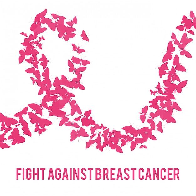 Luta contra o câncer de mama Vetor Premium