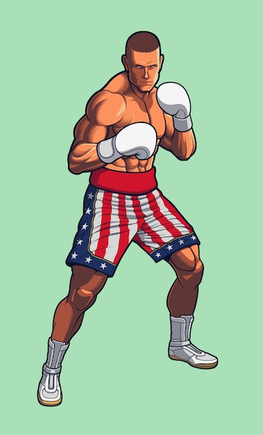 Lutador de boxe, vestindo eua bandeira boxe shorts. Vetor Premium
