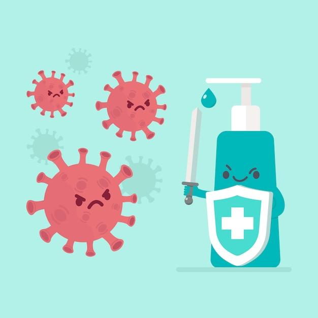 Lutar contra o conceito de vírus Vetor grátis
