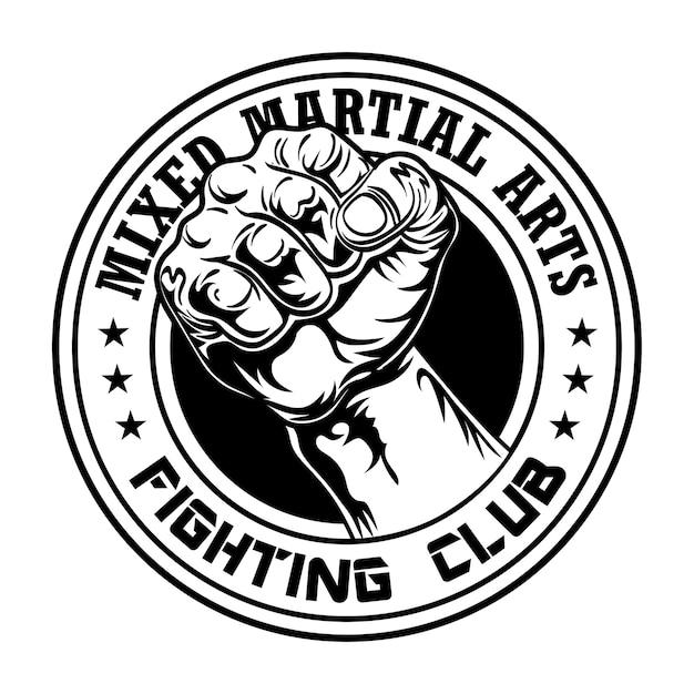 Lute o emblema do clube com o punho. logotipo do clube de boxe e luta com braço musculoso Vetor grátis