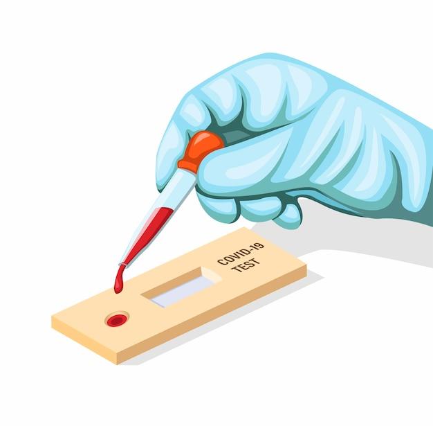 Luva de desgaste de mão para colocar amostra de sangue no conceito de teste rápido covid-19 em ilustração de desenho animado isolada em fundo branco Vetor Premium