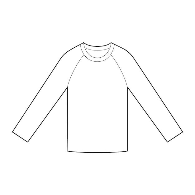 Luva longa camisetas Vetor Premium