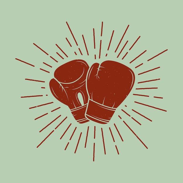 Luvas de boxe em estilo vintage. Vetor Premium