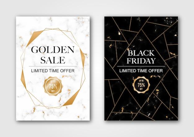 Luxo de venda de banner preto e branco Vetor Premium