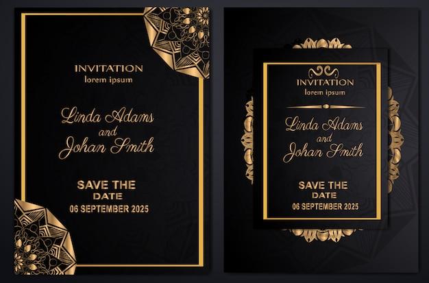 Luxo do casamento do convite Vetor Premium