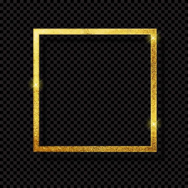Luxo dourado brilhante abstrato do quadro no fundo transparente. Vetor Premium