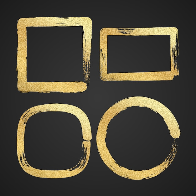 Luxo dourado pintou quadros de fronteira grunge. Vetor Premium