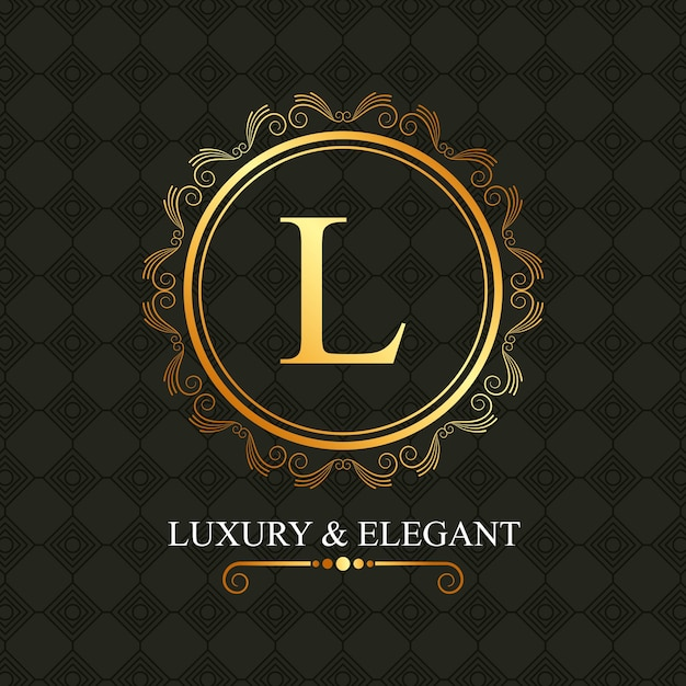 Luxo e elegante quadro dourado l Vetor Premium