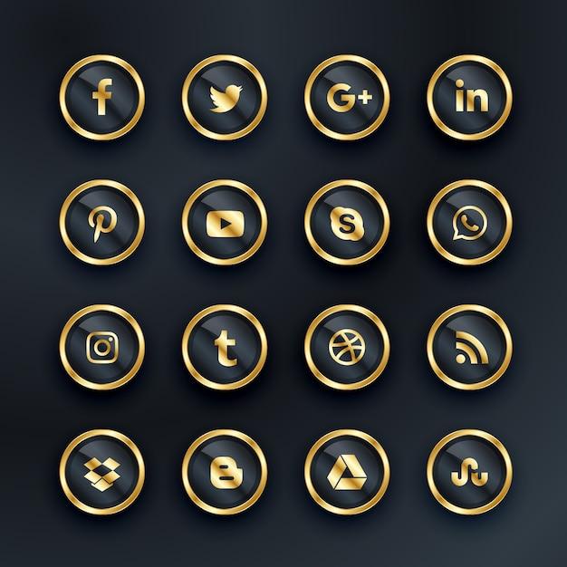 Luxo, estilo, social, ícones, pacote Vetor grátis