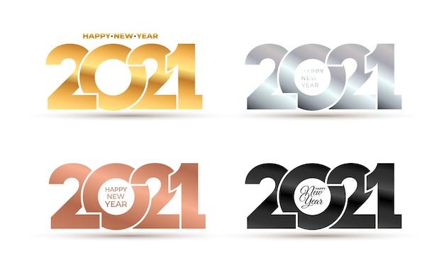 Luxo feliz ano novo elegante de ouro, prata, rosa, números de logotipo preto. Vetor Premium