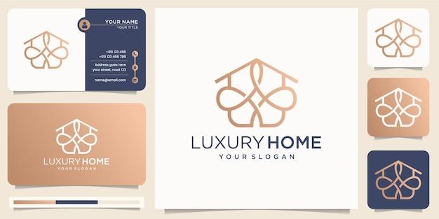 Luxo home line arte estilo inspiração design minimalista. estilo de linha home de logotipo abstrato, empresa de ícone com design de modelo de vetor de cartão de visita. vetor premium Vetor Premium