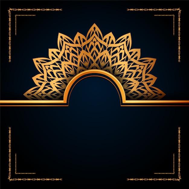 Luxo ornamental mandala islamic background com padrões de arabesco dourado para convite de casamento, capa do livro. Vetor Premium