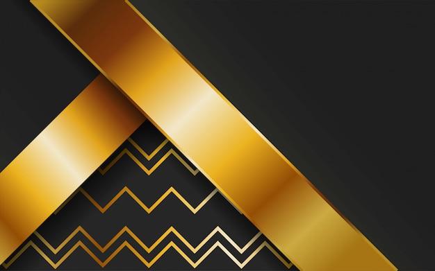 Luxo premium ouro vetor abstrato com linha ouro. sobreposição de camadas com efeito de papel. modelo digital. efeito de luz realista sobre fundo de ouro linha texturizada. Vetor Premium