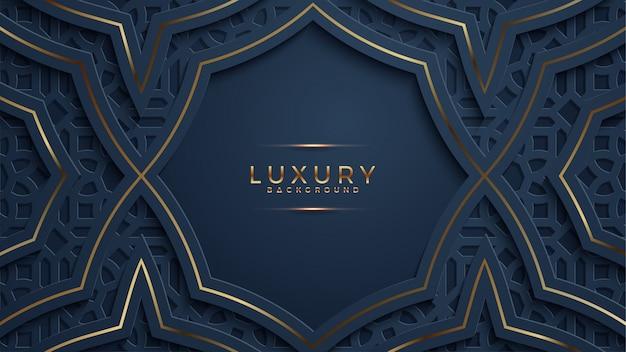 Luxo resumo preto papercut texturizado fundo com brilho padrão de meio-tom dourado. Vetor Premium