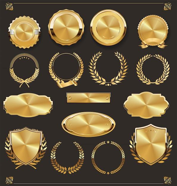 Luxo retro emblemas de ouro e prata coleção Vetor Premium