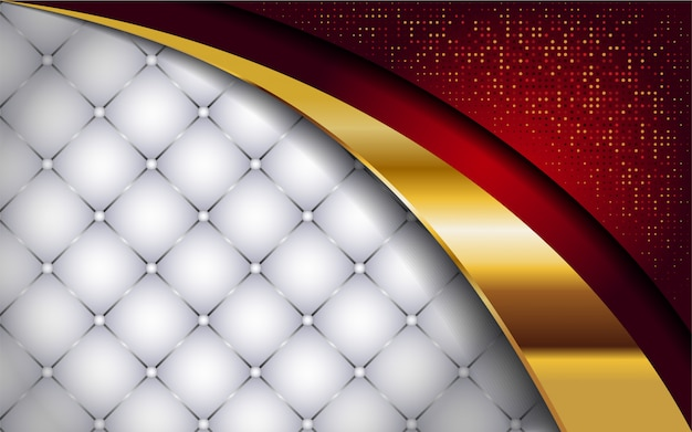 Luxuoso branco e vermelho com fundo da linha dourada Vetor Premium