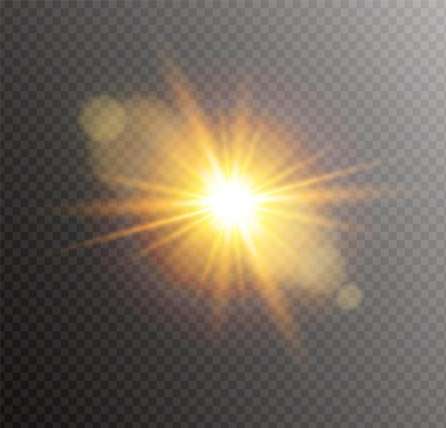 Luz amarela brilhante explosão explosão. estrela brilhante flare. Vetor Premium