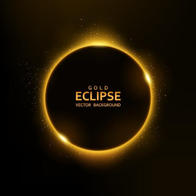 Luz amarela do eclipse com brilhos Vetor Premium