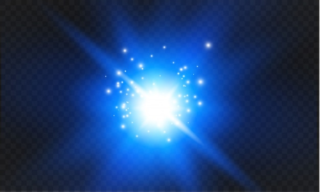 Luz azul brilhante explode em um fundo transparente. partículas de poeira mágica cintilante. estrela brilhante. sol brilhante e transparente, flash brilhante. brilhos. para centralizar um flash brilhante. Vetor Premium