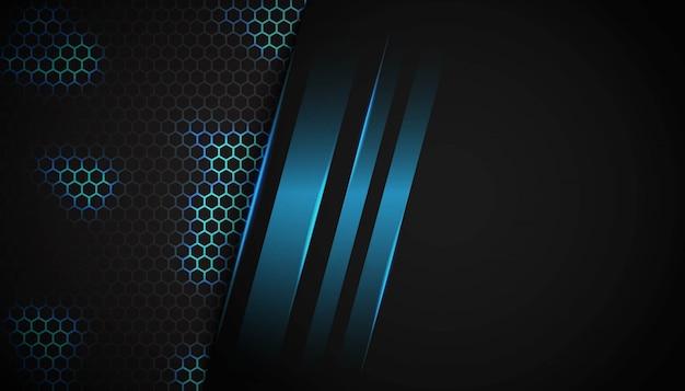 Luz azul do hexágono abstrato no fundo escuro. Vetor Premium