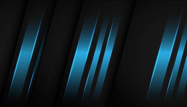 Luz azul geométrica abstrata no fundo escuro. Vetor Premium