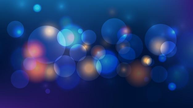 Luz bokeh abstrata em fundo azul escuro Vetor Premium