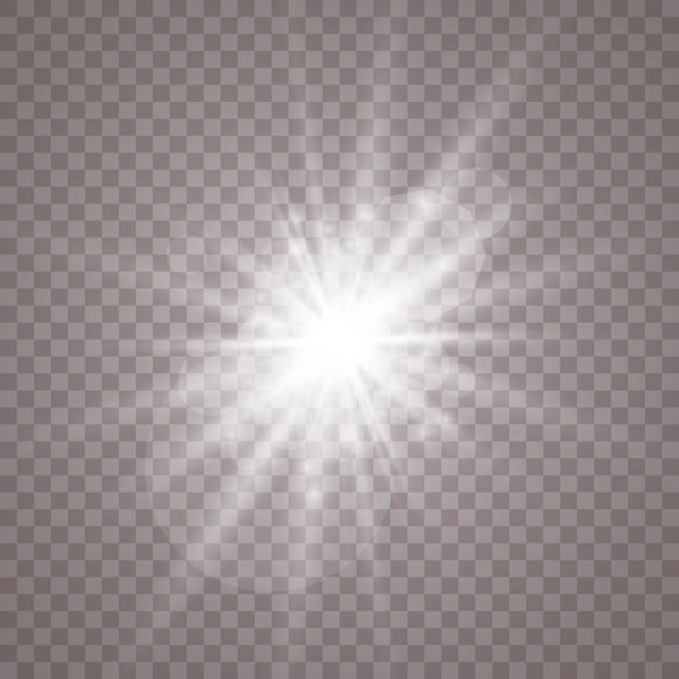 Luz branca brilhante. estrela brilhante, sol brilhante. Vetor Premium