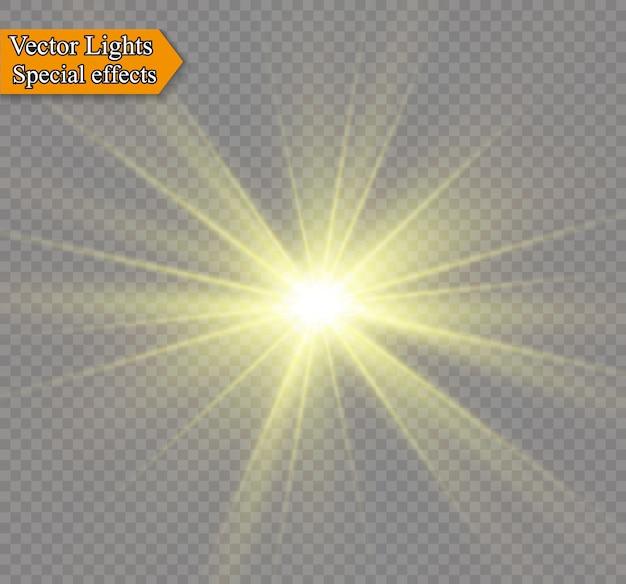 Luz brilhante amarela explode em um fundo transparente. partículas de poeira mágica cintilante. estrela brilhante. sol brilhante e transparente, flash brilhante. brilhos. Vetor Premium