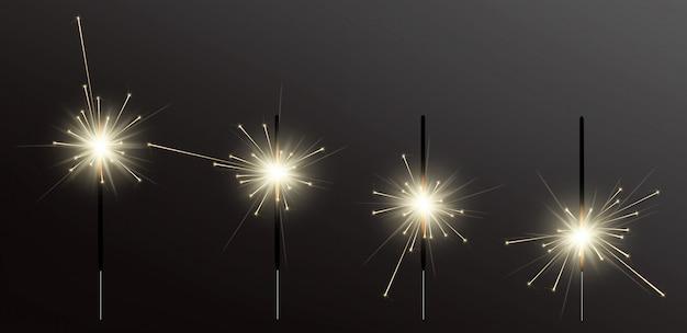Luz de bengala de férias realista Vetor Premium