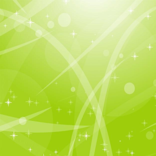 Luz de fundo abstrato verde com estrelas, círculos e listras. Vetor Premium