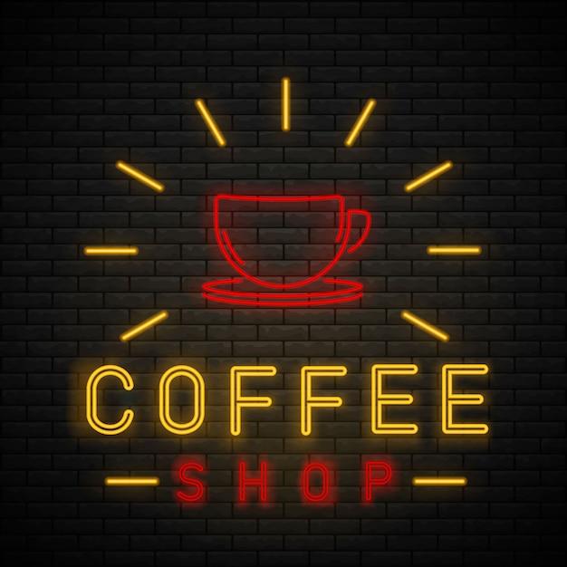 Luz de néon de café. sinal de néon café na parede de tijolo. Vetor Premium