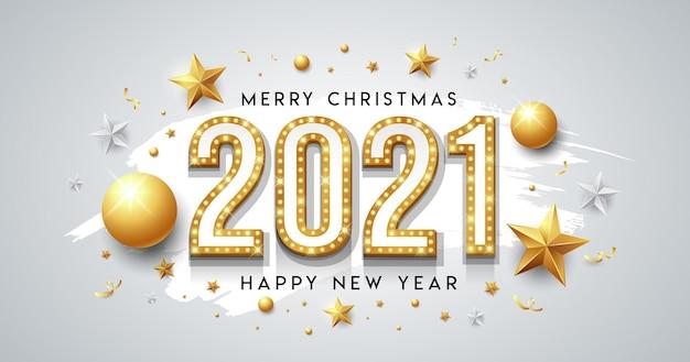 Luz de néon dourada, feliz ano novo e mensagem de feliz natal design com estrela, bola e fita no fundo branco Vetor Premium