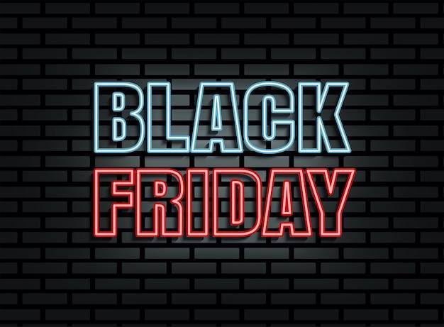 Luz de néon preta de venda na sexta-feira no fundo da parede de tijolos Vetor Premium