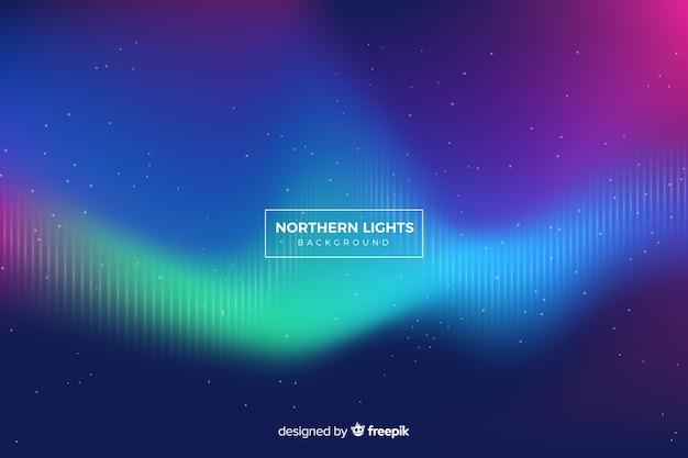 Luz do norte com linhas desvanecidas e céu estrelado Vetor grátis