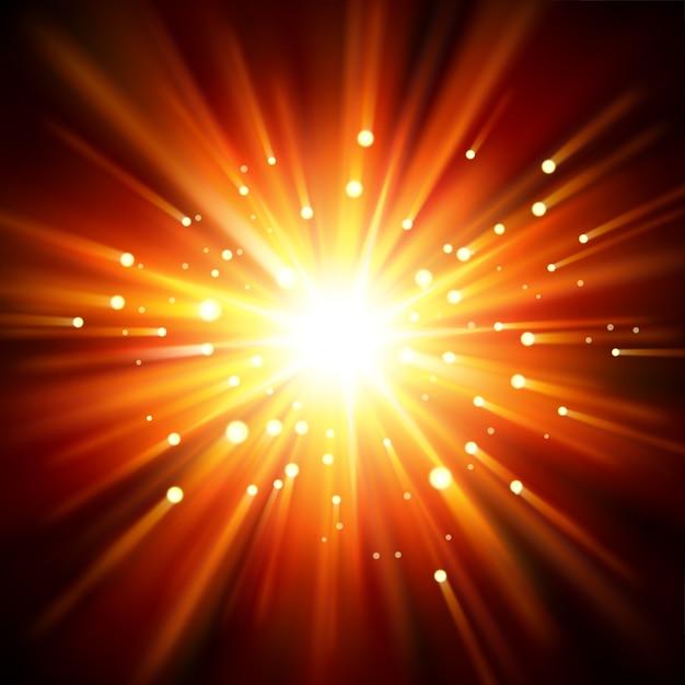Luz do sol iluminada da escuridão Vetor Premium