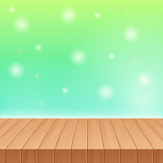 Luz solar no céu de verão com mesa de piquenique de madeira Vetor Premium