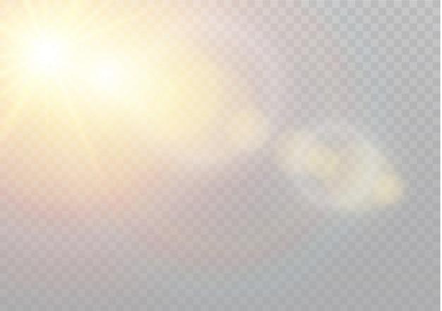 Luz solar transparente lente especial flare efeito de luz. padrão abstrato de natal. partículas de poeira mágica cintilante Vetor Premium