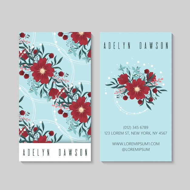 Luz vermelha dos cartões de visitas da flor - azul Vetor Premium