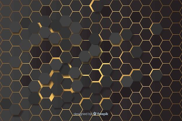 Luzes amarelas de fundo padrão hexagonal Vetor grátis