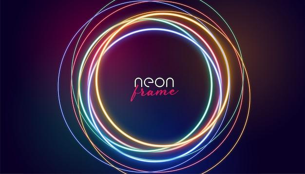 Luzes coloridas do quadro de néon circular Vetor grátis