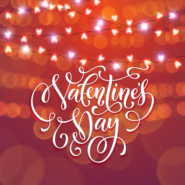 Luzes de guirlanda de coração de dia dos namorados para um fundo de cartão vermelho premium Vetor Premium