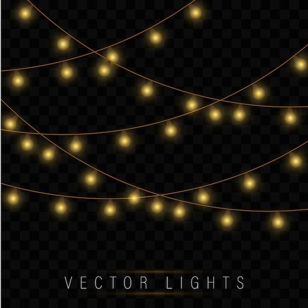 Luzes de natal amarelas. guirlanda de natal brilhante. Vetor Premium