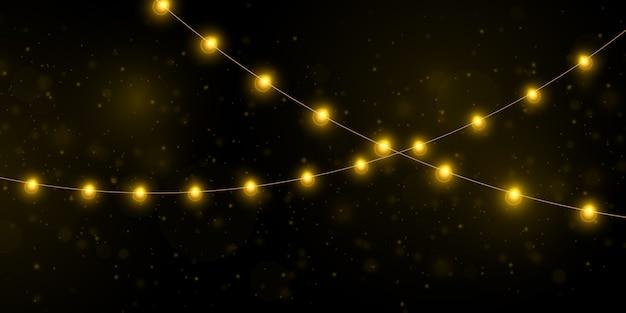 Luzes de natal amarelas isolaram elementos realistas. Vetor Premium