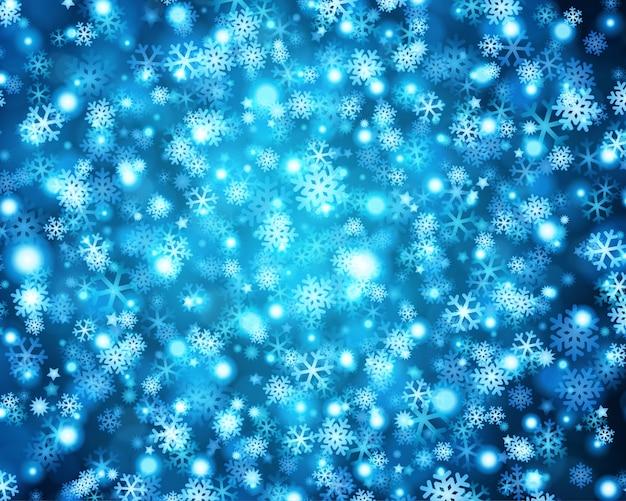 Luzes de natal azul brilho de flocos de neve brilho brilhante e ilustração Vetor Premium